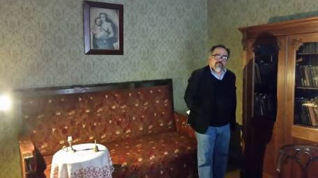 "Renting apartments in inexpensive parts of town, he would move frequently and never stayed at one address for more than three years. Friends who visited him in various apartments noticed the ascetism of their décor, the simplicity and restraint of the interiors. The main room in Dostoevsky's apartment was always his study. A desk, often placed in the middle of the room always occupied the principal place there: ""Fyodor Mikhailovich's study was a large room with two windows. In the back of the room stood a soft couch covered with a brown, fairly worn material; in front of it was a round table with a red cloth napkin. On the table were a lamp and two or three albums; all around stood soft chairs and armchairs. The windows were decorated with two large Chinese vases of a beautiful shape. Along the wall stood a large couch made of green morocco leather, and near it was a little table with a decanter of water. On the opposite side, across the length of the room, a writing desk had been pulled out"". Thus Anna Dostoevskaya, the writer's second wife, described the study in the apartment where Dostoevsky created his novel Crime and Punishment."
