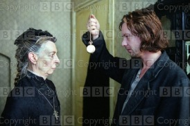 Crime and Punishment : 2002 Transmission Date: 12/02/2002 Annotation: Picture shows: Valerie Lilley as the Pawnbroker and John Simm in Crime and Punishment Personalities: Lilley, Valerie ; Simm, John Location: GB Photographer: Stephen Morley / Alex Bailey Genre: Costume Drama Ref Number: 5794452