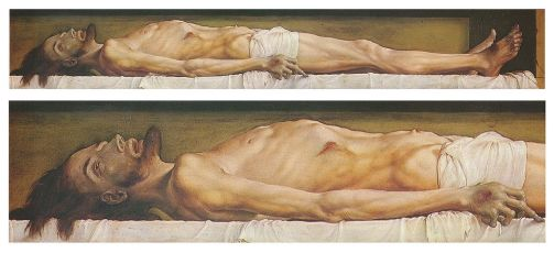 "Dostoevsky saw this painting ""The Body of the Dead Christ in the Tomb"" ( 1520–22) by the German artist and print-maker Hans Holbein the Younger, when traveling in Switzerland, and was so struck by it that he climbed up on a chair in order to look at it more closely. In his 1869 novel ""The Idiot"", the character Prince Myshkin, having viewed the painting in the home of Rogozhin, declares that it has the power to make the viewer lose his faith."