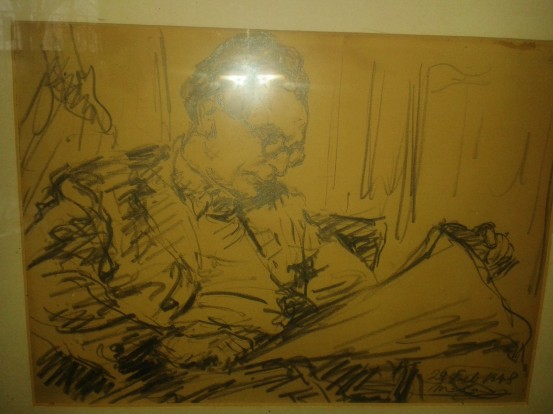 A sketch of David Magarshack, by an artist friend of the family did of him while he was hard at work (date around 29 February 1948) Copyrights are owned by the Magarshack family, Courtesy of Emily Morris and Cathy McAteer