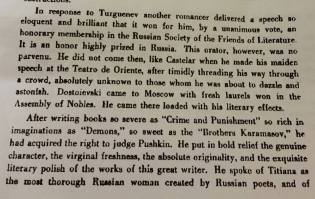 "On Dostoevsky in ""Pushkin: a memorial to the man who blazed the pathway leading to Russian liberty"" by José Martí (The Sun New York, 28 August 1880)."